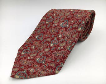 Vintage 1970s Wide Red Silk Tie with Blue Paisley Pattern by Bert Pulitzer