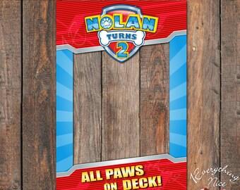 "Paw Patrol Theme 24"" x 36""  Happy Birthday Photo Booth Frame Digital Download"