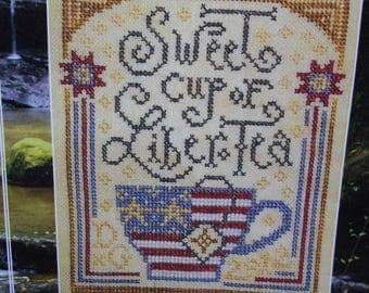 "Primitive/Whimsical Cross Stitch chart - 'Sweet Liber-Tea"" by Silver Creek Samplers"
