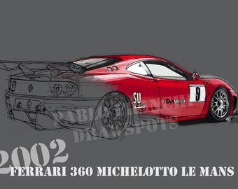 2002 FERRARI 360 MICHELOTTO Le Mans, 8.62x12 in and bigger sizes,gift for men,teen bedroom decoration,office decoration,red and grey poster