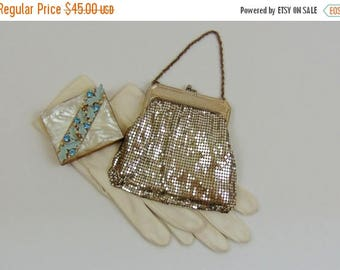 SALE Vintage Mesh Handbag | Whiting and Davis Silver Mesh Bag | 1950s