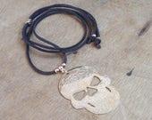 Leather necklace - skull - Bahia Del Sol - bohostyle - hippie - gypsy - Ibiza - leather jewelery - gypsystyle - beach jewels