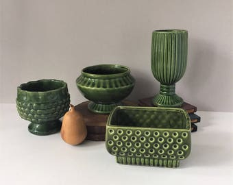 Mid Century Ceramic Planters, Vintage Florist's Vases, 1950s 1960s Jardinieres, American Pottery, Green Ceramic, Air Plant Containers
