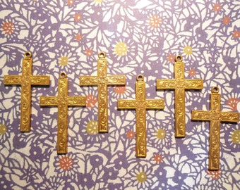 6 Vintage Brass 42mm Crosses with Flower Design