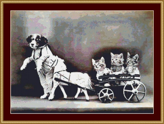 Walk In The Cart Cross Stitch Pattern /Digital PDF Files /Instant downloadable