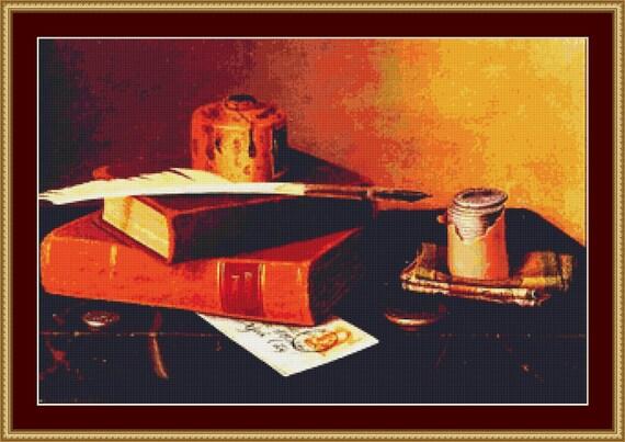 Banker's Table Cross Stitch Pattern /Digital PDF Files /Instant downloadable