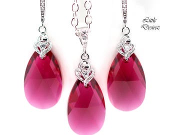 Pink Earrings and Necklace Set Swarovski Crystal Earrings & Necklace Set Ruby Pink Earrings Fuchsia Bridesmaid Gift Pink Jewellery RP32JS
