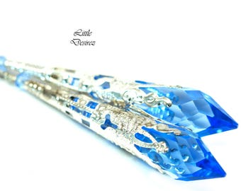 Sapphire Blue Earrings Long Dangle Earrings Chandelier Drop Earrings Swarovski Bridesmaid Earrings Bridal Earrings Wedding Earrings SP36