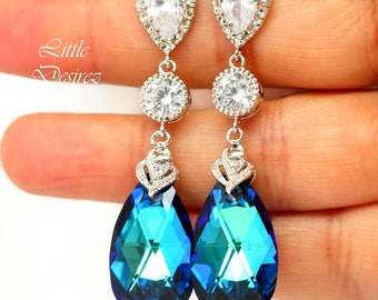 Bridal Chandelier Earrings Blue Dangle Earrings for Women Bridesmaid Jewelry Beach Wedding Statement Earrings Pear Bridal Earrings BB32PC