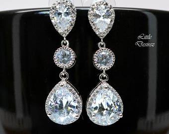 Cubic Zirconia Earrings Handmade Bridal Jewelry Wedding Jewelry Bridesmaid Jewelry Crystal Earrings Prom Jewelry Silver Earrings SPARKLE