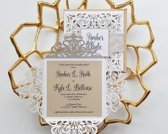 rustic wedding invitation kraft paper embellished with pearls and lace laser cut wedding invitation
