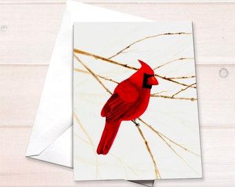 Cardinal Christmas card, Cardinal notecard, watercolor cardinal, bird lover card, cardinal card, cardinal stationery, nature lover card