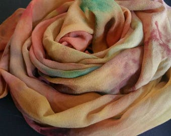 Earth tones on a silk shawl wrap,hand painted,one of a kind womenscaccessories, chiffon silk,rust,gold,teal,silk scarves ,gifts for her