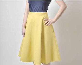 ON SALE Yellow  Midi skirt, High Waisted Midi skirt,  Skirt with Pockets, Cotton Sateen Skirt (exfl)