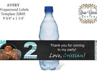 Moana bday party etsy for Water bottle labels template avery