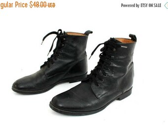 25% OFF Vintage Man Boots / Studio Andre Boots / Man Ankle Boots / Black Leather Boots / Lace Up Boots / Man Boots Size 41
