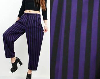 SALE Striped Pants / Large Pants / Loose Pants / Woman Pants / 90s Pants / Black Purple Pants / Classic Pants / Hipster Pants / Boyfriend Pa