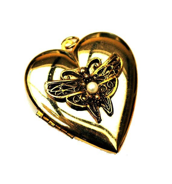 Gold Heart Locket Pendant - White pearl - Butterfly - charm -gold-plated