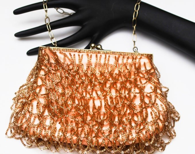 Pink Beaded Bag - signed China - toupe and clear dangle beads - vintage clutch purse - Silk - Handbag