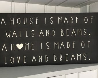 Handpainted Home quote Farmhouse Style Sign