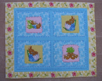 Peter Rabbit, Benjamin Bunny by Beatrix Potter Baby Crib Quilt with Organic Cotton Batting