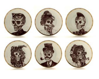 "Sugar Skull, Set 6, Vintage Plates 7.5"" Porcelain, Wedding Present Gift, Grotesque, Halloween, Day of the Dead, Dia De Los Muertos, Mexico"
