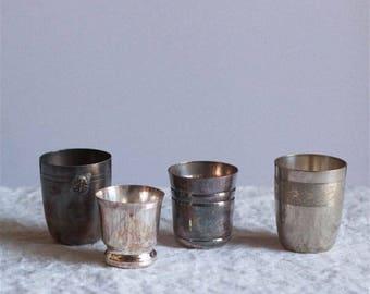 Vintage Silver Christening Cup Set Of 2