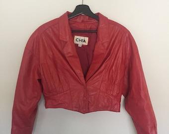 SALE*** Vintage 80s Red Leather Jacket