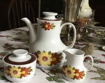 Cheerful Winterling Bavaria Teapot/Coffee Pot/Creamer/Sugar Bowl Yellow Red Green Flowers Brown Trim