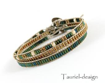 Seed Bead Bracelet, Minimalist Bracelet, Dainty Bracelet, Stacking Bracelet, Simple Bracelet, Beaded Bracelet - Green, Old Gold, Beige