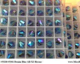 24 Swarovski 8mm DENIM BLUE AB x2 Xilion Bicone Article 5328, Was 5301 New from Box