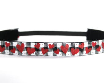 Valentine's Day Headband, Gift for Her, Fitness Apparel, Buffalo Plaid Headband, Glitter Hearts Accessory, Running Headband, Gift for Runner