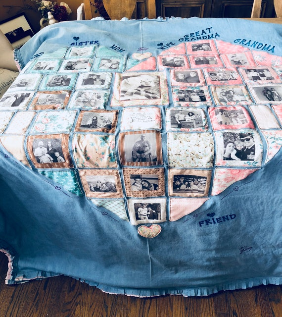 Denim blanket, Denim Picture blanket, Picture Collage, Fabric collage, Denim quilt, Denim Heart Blanket, Memory blanket