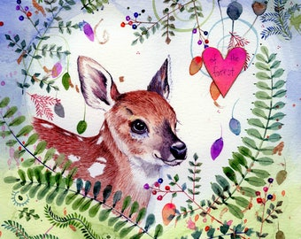 fawn among the ferns original watercolor painting