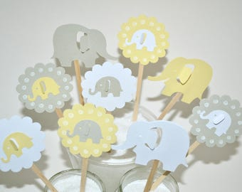12 Yellow & Gray Elephant Cupcake Toppers / Elephant Baby Shower Invitation / Elephant Party Decor / Elephant Cake Topper / Baby Shower