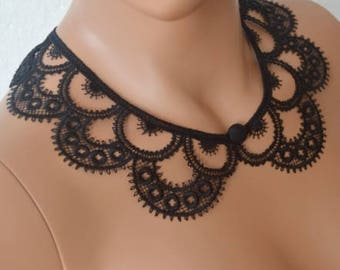 Black Peter Pan Collar, Black Detachable Collar and button, Cotton, Lace Collar, Lace Necklace, Detachable Collar Necklace, gift for he