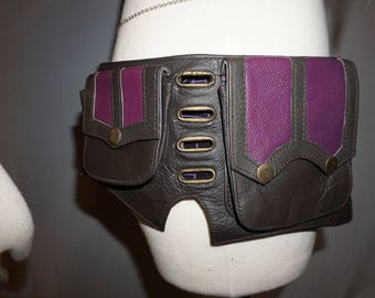 30% Off SALE! Purple and Dark Brown Leather Utility Belt with Pockets