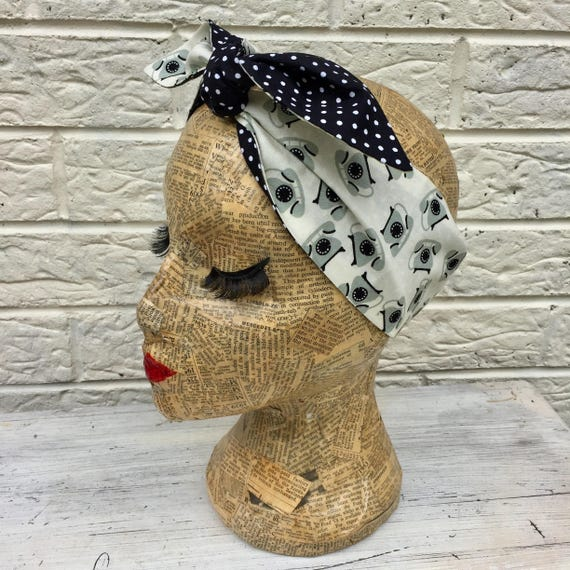 Vintage Telephone Polka Dot Headacarf Rockabilly Pinupup 50's inspired