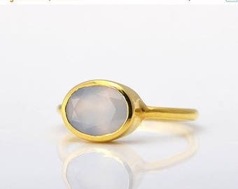 ON SALE Grey Chalcedony ring - Vermeil Gold ring - oval ring, stacking ring, bezel set ring, sterling silver ring, gemstone ring, chalcedony