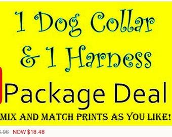 Sale - 50% Off 1 Dog Collar & 1 Harness Package - Dog Harness Set - Dog Collar Set