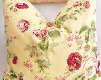 """Shabby chic floral yellow pink green pillow 18""""x18"""""""