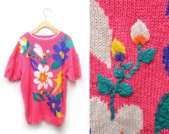 80s Pink Floral Sweater Blouse Women's 2X XXL Plus Size Cute