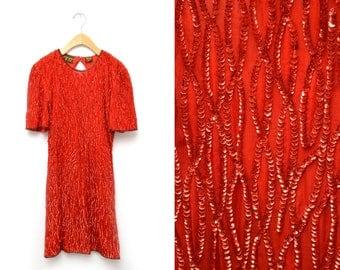 80s Red Sequined Dress Evening Silk Mid Length Women's Medium