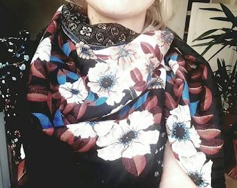 Vintage flowers Fabric scarf