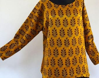 TUNIC TOP sunflower yellow, soft and silky silk flowers, long sleeves, round neck design