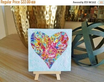 Clearance Heart Mini Painting with wooden easel, Textured, colorful design in a heart shape. Free Shipping