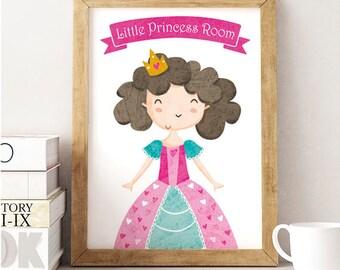 Princess Print, Black Princess Print, black Girl, , princess illustration, princess, black princess, princess wall art, princess quote print