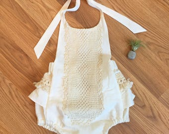 Ivory Linen Boho Romper for Girls Size 12-18 months Ready To Ship