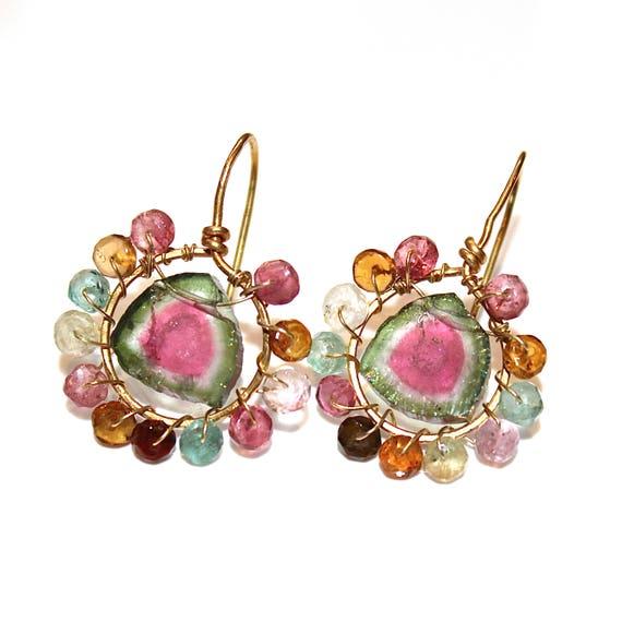 Large Watermelon Tourmaline Slice Earrings Delicate Earrings Minimalist Jewelry Gold Hoop Earrings Rainbow Tourmaline Raw Gemstone Jewelry