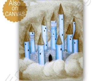 castle wall art baby boy nursery prince nursery royal boys room decor - Blue Castle Decor